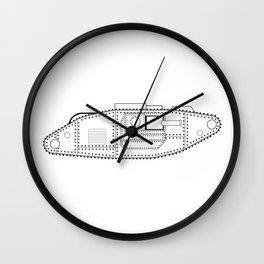 World War One Tank Line Drawing Wall Clock