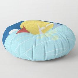 Sun, ocean and sails Floor Pillow