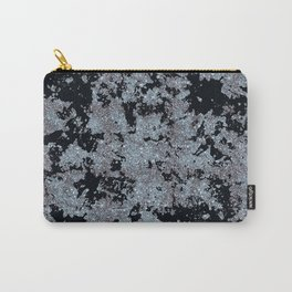 Silver Frost and Black Ice Abstract Pattern Carry-All Pouch