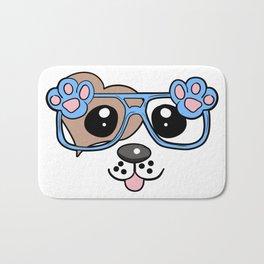 Cute Dog with Sunglasses Bath Mat