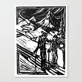 Skiers Block Print Canvas Print