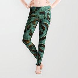 Aqua Flowers Tooled Leather Leggings
