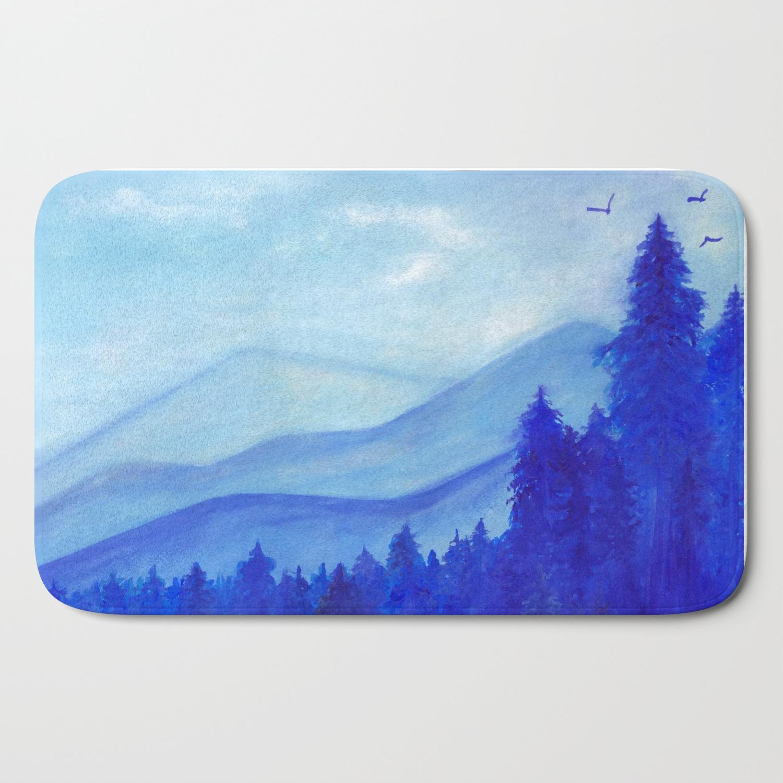 Blue Mountains Pine Trees Birds Original Painting Gouache Blue White Wall Decor Wall Art Bath Mat