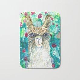 Llama in cacti Bath Mat