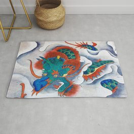 Minhwa: A Blue Dragon in the clouds (Korean traditional/folk art) Rug