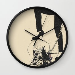 Mistress and her Pet - girls love to play dirty in fetish BDSM style, adult black and white erotic Wall Clock