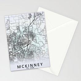 McKinney, TX, USA, White, City, Map Stationery Cards