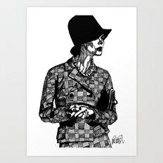 B&W Fashion Illustration - Tweed Art Print