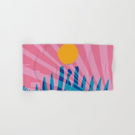 Yellow sun in the pink sky of the French Riviera Hand & Bath Towel