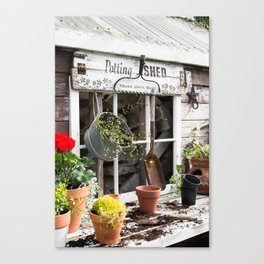 Potting Shed At Work - angled Canvas Print