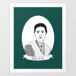 Beatrix Potter Illustrated Portrait Art Print