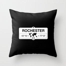 Rochester New York Map GPS Coordinates Artwork with Compass Throw Pillow