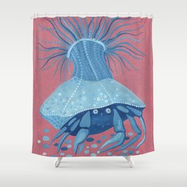 Hermit Crab, Blue & Rose Gold series Shower Curtain