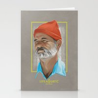the life aquatic Stationery Cards featuring Steve Zissou Life Aquatic  by Soren Barton