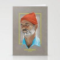 life aquatic Stationery Cards featuring Steve Zissou Life Aquatic  by Soren Barton