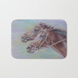 Horse Racing, Portrait of two brown horses, Pastel drawing on gray background Bath Mat
