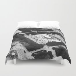 The Bean Cloud Gate Millennium Park Chicago Illinois Black and White Photo Duvet Cover