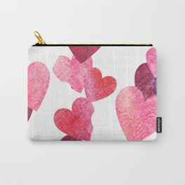 Pink Grungy Hearts Carry-All Pouch