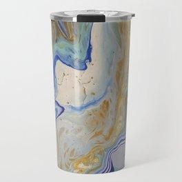 Blue and Mustard Fluid Art Travel Mug