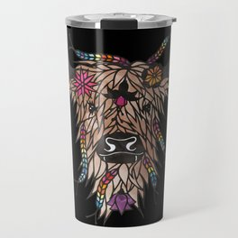 Highland cow - papercut design Travel Mug