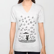 I'm only happy when it rains (skulls) Unisex V-Neck