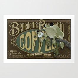 Frog & Coffee by Paulo Coruja Art Print