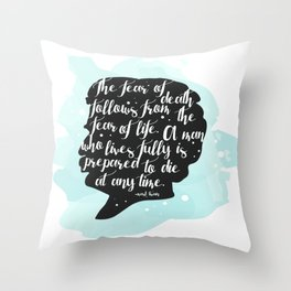 Mark Twain Quote and Silhouette Throw Pillow