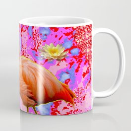 Pink Saffron Flamingo Yellow Water Lilies Deco Art Coffee Mug