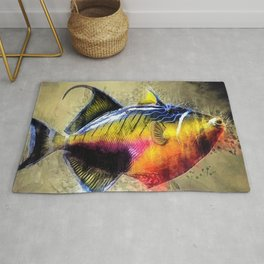 Great Barrier Reef Trigger Fish Marine Portrait Rug