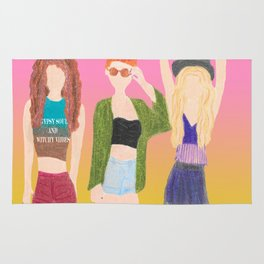 boho girls brunette red head blonde bohemian fashion friends Rug