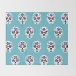 Día de Muertos • Mexican Sugar Skull – Baby Blue Palette Throw Blanket