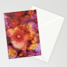 Red Poppy Blooms Stationery Cards