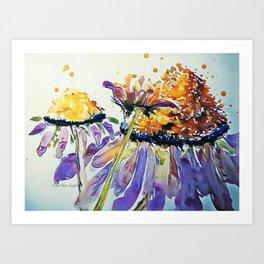 Poppin Purple Echinacea watercolor by CheyAnne Sexton Art Print