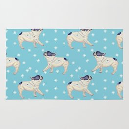 French Bulldog & Snowflake Pattern, Sky Blue Rug
