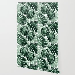 Tropical Monstera Jungle Leaves Pattern #1 #tropical #decor #art #society6 Wallpaper
