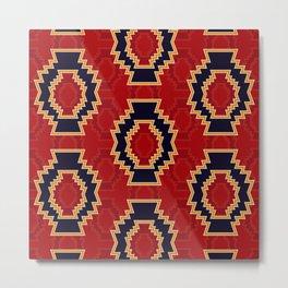 Aztec symbol pattern on red background Metal Print