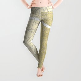Gold on White London Street Map II Leggings