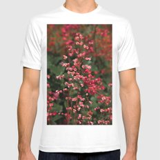 Little Red Flowers MEDIUM Mens Fitted Tee White