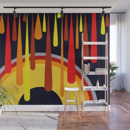 Drops & Rainbow - red - yellow - black Wall Mural