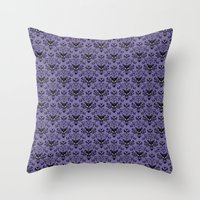 haunted mansion Throw Pillows featuring Haunted Mansion Wallpaper by MiliarderBrown