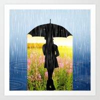 umbrella Art Prints featuring Umbrella by Cs025