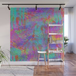 Whimsical pink teal neon green yellow abstract watercolor Wall Mural