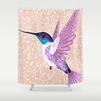 hummingbird Shower Curtains featuring hummingbird by Lovely and Cute