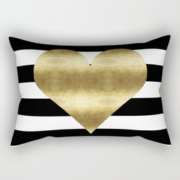 gold heart black and white stripe Rectangular Pillow