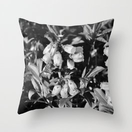 Tiny Blossoms On A Dirt Road in Black and White Throw Pillow