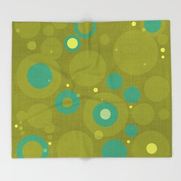 """Retro Dots Colorful"" (Olive & Teal) Throw Blanket"