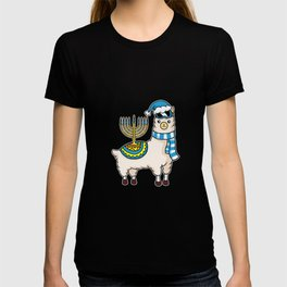 Chanukah Alpaca Happy Hanukkah Llama Menorah T-shirt
