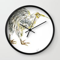 kiwi Wall Clocks featuring Kiwi by Noelia Moitié