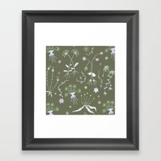 Moss Green Flora Framed Art Print