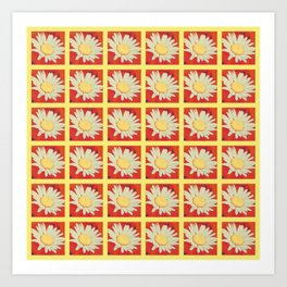 Daisies Squared Red and Yellow Art Print